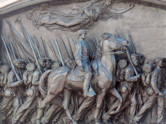 "The Robert Gould Shaw and Massachusetts 54th Regiment Memorial subject of Robert Lowell's most famous poem ""For the Union Dead"""