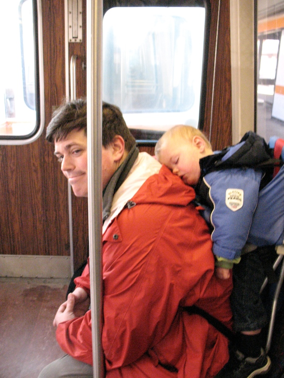 Peter catches some shut-eye on the Orange Line, a rare occurence.