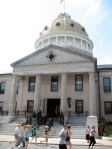 The golden dome of the Norfolk County Courthouse could fit in with the buildings on the Liffey