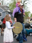 A young drummer marches