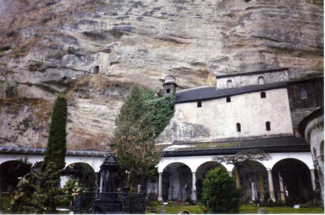 The monks' cells carved in the side of Mönchsberg.