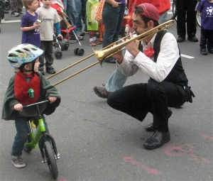 A trombone serenade for a young biker.