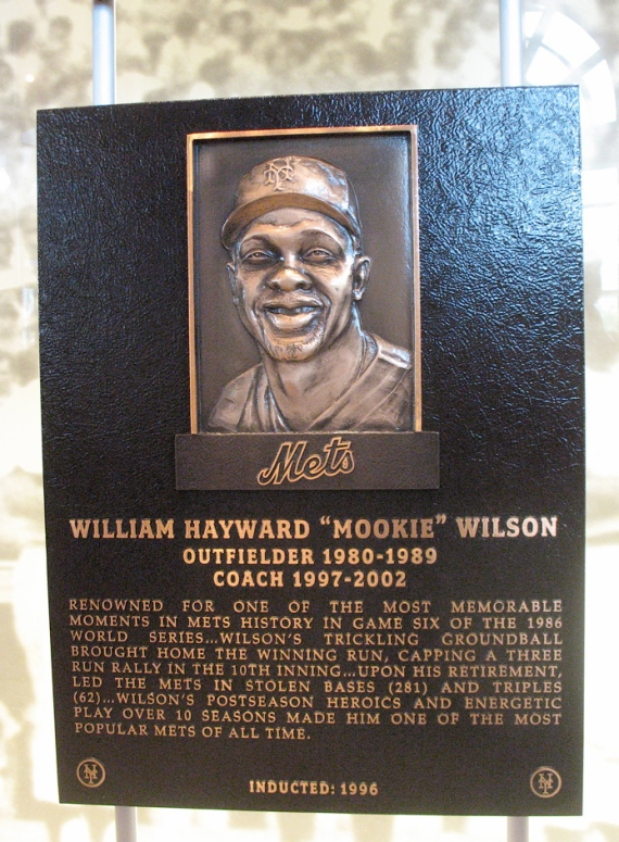 Mookie Wilson's plaque in the Mets Hall of Fame.