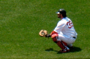 Catcher Jarrod Saltalamacchia before the game.