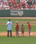 Retired Red Sox Trot  Nixon is  honored before the game.