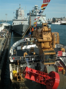 The deck of the USCGC Juniper  with the HNOMS Thor Heyerdahl and HDMS Esbern Snare in the distance.