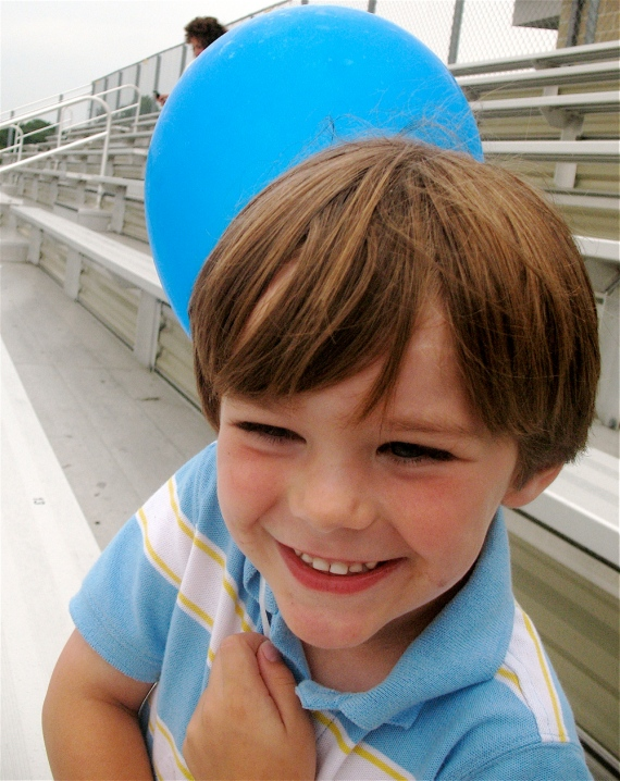 My son was delighted with the balloon he was given upon entering Manning Field.