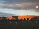 Rainbow soccer action.