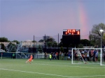 The rainbow behind the Red Bulls goal