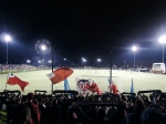 The New England flags add to the charm and atmosphere of local soccer.