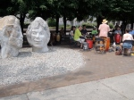 Sculptures and drummers.
