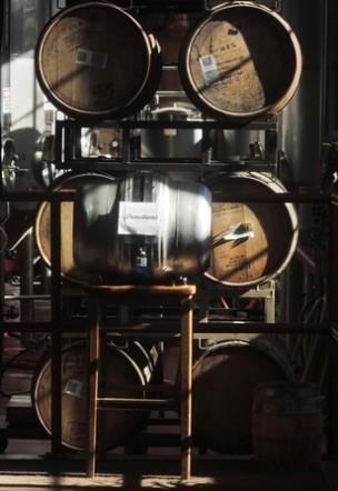 A glimpse of wooden casks.