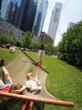 A smaller net, full of kids.