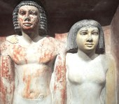 """Pseudo-group statue of Penmeru Egypt 2465-2423 BC """"The Dad and Mom"""""""