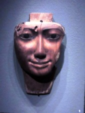 Face froma mummiform coffin Egypt 1070-656 BC