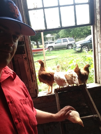 Selfie with chickens