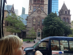 Admiring Boston's great architecture.