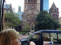 Admiring Boston's great architecture.