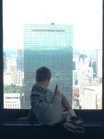 A Boston guide entranced by the view and his audio guide.