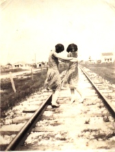 Dancing on the railroad tracks (this should be the cover of some band's Americana album).