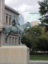 Appeal to the Great Spirit, Cyrus Dallin, 1909 with Boston skyline.