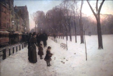 My absolute favorite painting of Boston, At Dusk (Boston Common at Twilight) (1885-86) by Childe Hassam