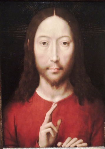 "I like how Christ's hands rest on the bottom frame.Hans Memling, ""Christ Blessing,"" 1481"