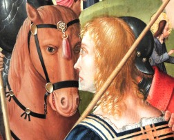 "Face to face. German (Cologne School), Detail from ""The Crucifixion,"" around 1485-1515"