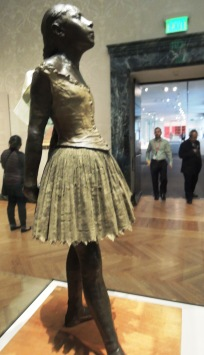 "Looks like she's ready to dance with the museum visitors. Edgar Degas, ""Little Fourteen-Year-Old Dancer,"" 1878-81"