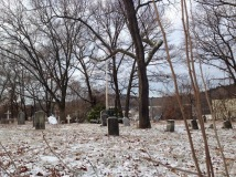Tollgate cemetery in the snow.