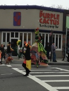 I see this stilt walker every year. She's very nimble.