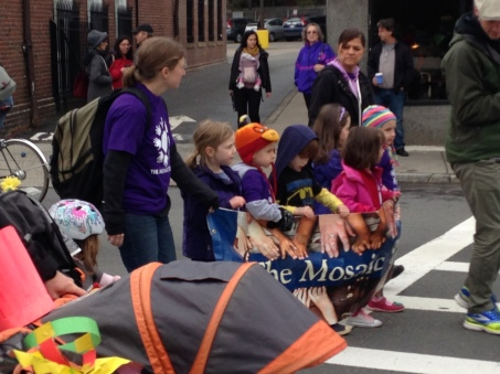 Mosaic School kids hold the line.