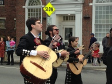 Strolling mariachis.