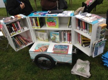A biblio-bike-cart.