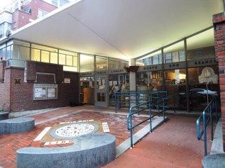 The North End library branch is the mid century modern interpretation of a Roman villa.