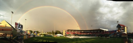 Double rainbow over McCoy Stadium