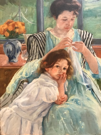 "A kiddo tries to interrupt her mother in ""Young Mother Sewing"" by Mary Cassatt"