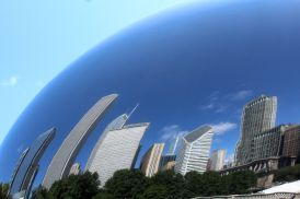 "Chicago skyline bent by the ""Bean"""